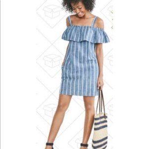 J. Crew Blue Striped Chambray Ruffle Dress